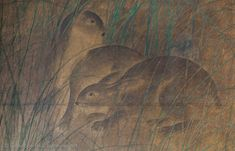 Two-panel screen with hares in the grass | GIUSEPPE PIVA - Japanese Art