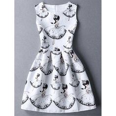 $10.56 Cute Round Collar Sleeveless Girl Print Women's Dress