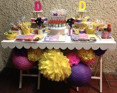 Mesa de dulces cumpleaños/ Birthday Candy bar #candybar #purple #hotpink #yellow #colorcombo #colormix #mesa de dulces