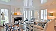 Love the lacquered ceilings/trim and the blue and white decor