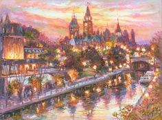 Fair Night - Framed Fine Art Original Painting on canvas, by world renowned artist Elena Khomoutova