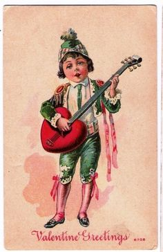 Valentine's Jester Plays Heart Shape Guitar Fantasy a526 by postcardcity, via Flickr