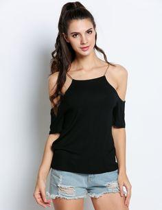 Black Stylish Off the Shoulder Short Sleeve Chain Decoration Solid Top dresslink.com