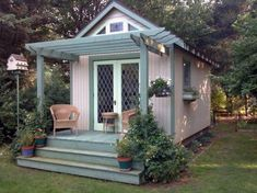 backyard shed with arbor - If this is really a shed, it could be enlarged slightly and be the perfect backyard getaway or guesthouse. shed design shed diy shed ideas shed organization shed plans Wood Shed Plans, Diy Shed Plans, Interior Garden, Home Interior, Interior Modern, Kitchen Interior, Interior Design, Man Cave And She Shed, Architecture Design