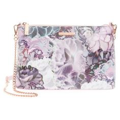 Women's Ted Baker London Illuminated Bloom Leather Crossbody Bag (8.120 RUB) ❤ liked on Polyvore featuring bags, handbags, shoulder bags, purple, leather man bags, leather cross body purse, leather crossbody handbags, man bag and purple leather handbag