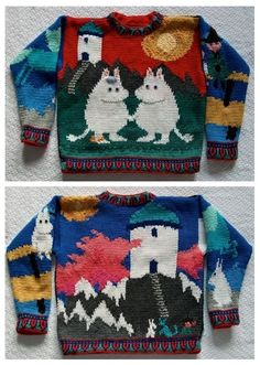 Moomins sweater 70s Inspired Fashion, Quirky Fashion, Aesthetic Fashion, Sweater Knitting Patterns, Knitting Designs, Knit Patterns, Pretty Outfits, Cool Outfits, Fashion Outfits