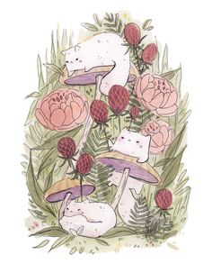 This piece is originally in watercolor and ink. Printed on Ultra Premium Presentation Paper from Epson The paper is inches A small subtle signature is added to the bottom right corner. They are also signed and dated on the back 🌸 Pretty Art, Cute Art, Cat Art Print, Mushroom Art, Arte Sketchbook, Kawaii Art, Cat Drawing, Aesthetic Art, Animal Drawings