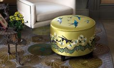 Combray Design | Stool & Ottoman Wood structure upholstered with satin - Marguerite Border and Birds embroidery. Custom design