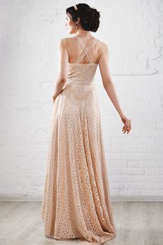 All the upper dress is made of lace of gentle rose – peach tone. The down dress is smooth with elastin; it fits your shape well. This gown suits well not only for usual wedding but for the beach wedding or for the outdoor ceremony. This dress doesn't have corset and tight bodice which makes the dress very soft and flexible. Bohemian Wedding dress gown rustic vintage open back retro nude beige color hippie lace shabby bride romantic simple long train ivory gypsy unique rose rosy pink peach…