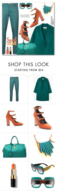 """""""Emerald City: Pops of Green (Preppy)"""" by jecakns ❤ liked on Polyvore featuring MANGO, Yves Saint Laurent, Bobbi Brown Cosmetics and Gucci"""