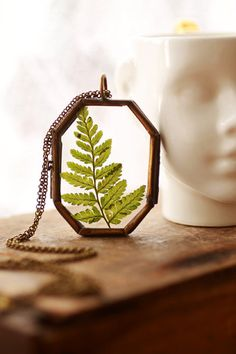 Real fern leaf necklace , glass locket , long layer pendant , terrarium jewellery , long boho necklace, real plant , woodland wedding