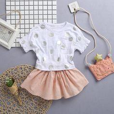 Conjunto Blusinha e Shorts Menina R$39 tamanhos de 6 meses a 3 anos #roupabebe #roupamenina