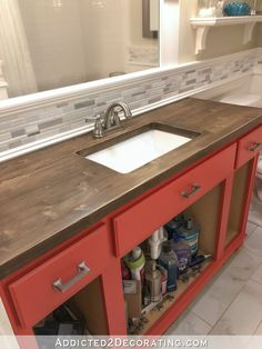 My Newly Refinished Wood Bathroom Countertop (And A Peek At The New Cabinet Color) - Addicted 2 Decorating® Resurface Countertops, Wooden Countertops, Bathroom Countertops, Wood Bathroom, Bathroom Furniture, Small Bathroom, Diy Furniture, Bathroom Ideas, Light Bathroom