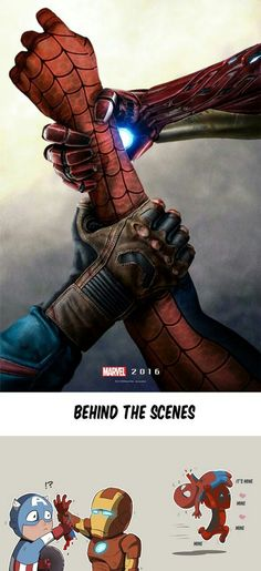 "Marvel Spiderman civil war Deadpool geekpicturez: ""Behind the scenes "" Marvel Dc Comics, Marvel Avengers, Deadpool Y Spiderman, Marvel Fanart, Marvel Funny, Marvel Memes, Spiderman Civil War, Nightwing, Batwoman"