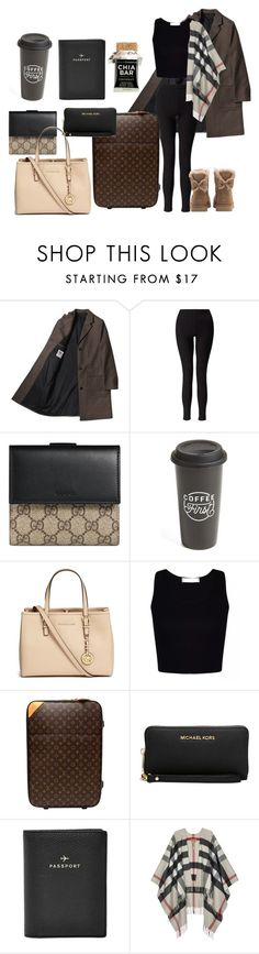 """Travel"" by star-lightt ❤ liked on Polyvore featuring Miss Selfridge, Gucci, The Created Co., Michael Kors, Louis Vuitton, FOSSIL, Burberry and UGG"