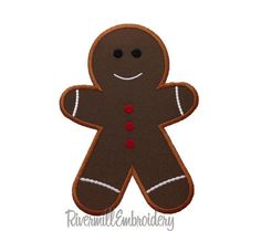 Gingerbread Man Applique Machine Embroidery Design - 4 Sizes