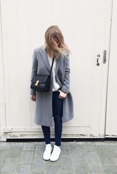 justthedesign: Mirjam Flatau is wearing a light grey melange coat from Filippa K, wote cashmere jumper from Fine Collection, bag from Celine, ripped jeans from A.D and the sneakers are from Adidas Fashion Gone Rouge, Fashion Mode, Look Fashion, Womens Fashion, Fashion Trends, Modern Fashion, Denim Fashion, Fashion Bloggers, Fall Fashion