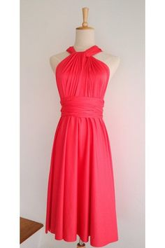 Fuchsia Pink Mini Convertible Wrap Dress can be wore in more than 20 styles and fits many different body types easily. Ideal for bridesmaid dress and other formal occasions too.