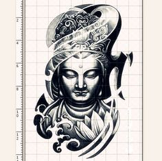 1pc Buddism godness Guanyin temporary tattoo *** fake tattoo body art large tattoo big tattoo on Etsy, $9.99