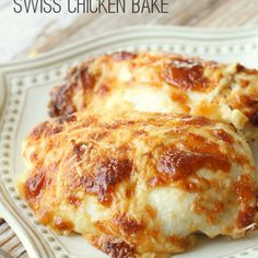 Delicious Creamy Swiss Chicken Bake - Ingredients Boneless Skinless Chicken Breast Slices Swiss Cheese (Mozzarella works too) ½ cup mayonnaise ½ cup sour cream ¾ cup grated Parmesan Cheese (divided) ½ tsp. Swiss Chicken Bake, Creamy Chicken Bake, Chicken Breast Cream Cheese, Sour Cream Chicken, Food Dishes, Main Dishes, Cooking Recipes, Easy Recipes, Cooking Pork