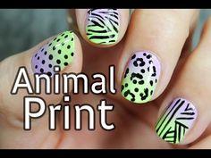Diseño de uñas con estampado animal cebra y leopardo | Nail Art animal print 2015 - YouTube