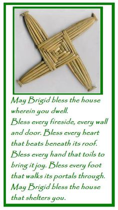Happy Feast of St Brigid of Ireland. We love our Irish saints as we have a family history that links us back to the 'Isle of Erin.' So thi. Brigid's Cross, Cross Link, Origami, Irish Quotes, Irish Sayings, Irish Blessing, House Blessing, Irish Prayer, Sabbats