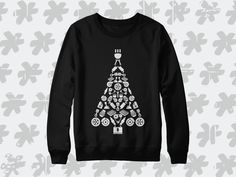 Car Parts Christmas Tree Sweatshirt. Perfect automotive winter holiday season gift for automotive lifestyle! Christmas Tree Sweater, Christmas Tree Design, Car Parts, Graphic Sweatshirt, T Shirt, Etsy Shop, Seasons, Sweatshirts, Winter