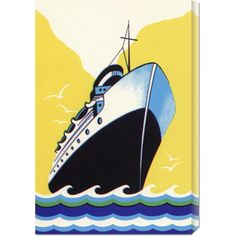 Retro Travel 'Steamship Cruise liner Boom Label' Stretched Canvas Art