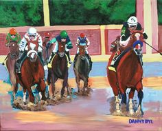 HORSE RACING 2020 Kentucky Derby Original Art PAINTING Authentic DAN BYL 4x5ft #Impressionism California Palm Trees, Cigar Men, I Give Up, Large Art, Abstract Canvas, Kentucky Derby, Horse Racing, Mardi Gras, Impressionism