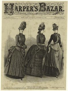 Stylish Victorian autumn and winter street suits from the pages of Harper's Bazar (1885). #Victorian fashion #1800s
