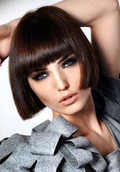 Glossy bobbed hair with fringe