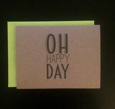 Oh Happy Day Card Congratulations Card by WildPreciousPrints $2.75