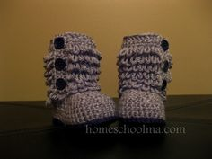 Crochet Ugg inspired Baby Boots Grey (Black sole & Buttons). $25.00, via Etsy.