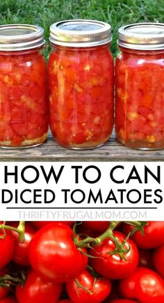 Diced Tomato Canning Recipe, Recipes With Diced Tomatoes, Canned Tomato Recipes, Home Canning Recipes, Canning Diced Tomatoes, Canning Tips, Tomato Canning Ideas, Easy Canning, Canning Salsa