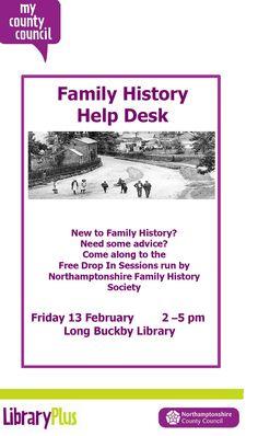 Long Buckby Library: family history help desk Friday 13th February