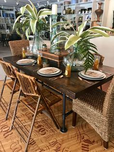 Bamboo chairs and oversized botanicals for an outdoor dining table at Lake of the Ozarks Missouri. Outdoor Dining, Dining Table, Bamboo Chairs, Missouri, Tablescapes, Wedding Events, Table Settings, Decorations, Furniture