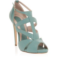 ELIE SAAB Strappy Mid Heel Sandal ($329) ❤ liked on Polyvore featuring shoes, sandals, heels, sapatos, zapatos, strap shoes, elie saab, strap heels shoes, strap sandals and strappy shoes