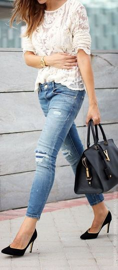 casual chic street style with worn denim jeans, black leather pumps and a lace blouse, large satchel / tote <3 #TARTCollections