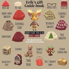 Animal Crossing Guide, Animal Crossing Villagers, Simple Tree, Red Tree, Sewing Box, Guide Book, Creative Gifts, Gift Guide, Favorite Color