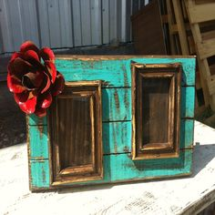 Fiesta Rustic Handmade Turquoise Double Frame $42.95 www.gugonine.com