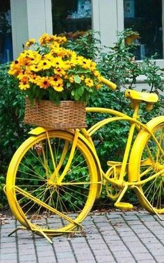 Yellow Bicycle with Black-eyed Susan Flowers