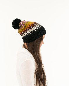 Fair Isle Slouchy Hat Chunky Knit Pom Pom by BrennaAnnHandmade