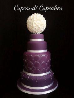 Purple topiary wedding cake