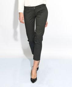 Look at this #zulilyfind! Black Stripe Crop Pants #zulilyfinds