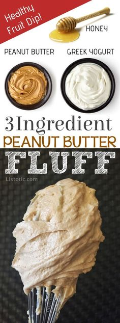 Easy, Healthy, 3 Ingredient Peanut Butter Fruit Dip Recipe made with greek yogurt, peanut butter and honey. The easiest party dip you will ever make! It's also the perfect after school snack for the kids. Easy No-Bake Peanut Butter Dessert and protein snack.