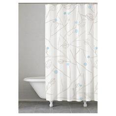 Poppy Shower Curtain Blue/Grey (74x74) - Kassatex