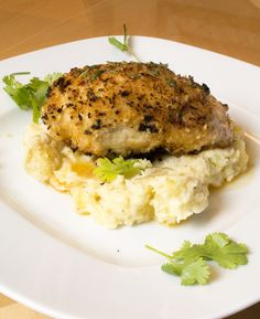 Chicken stuffed with cheese and Roasted Pepper over Spicy Potato Mash from Chili Pepper Madness