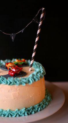 Cars Cake: Vanilla and Banana Cake with Milk Chocolate Ganache and Vanilla Buttercream Frosting - KokiDoo