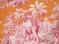 Manuel Canovas Toile Bengale fabric for headboard, $425 yr