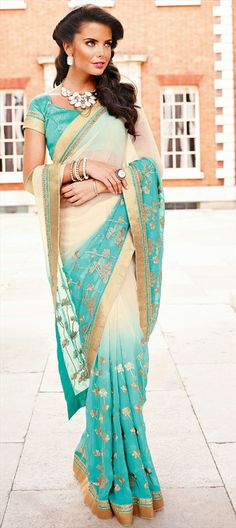 133095, Party Wear Sarees, Georgette, Patch, Lace, Blue, Beige and Brown Color Family